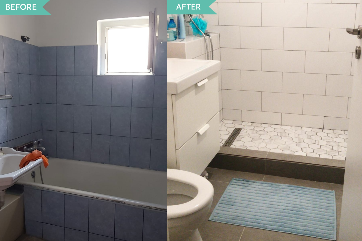 Before and after renovare baie Bucuresti