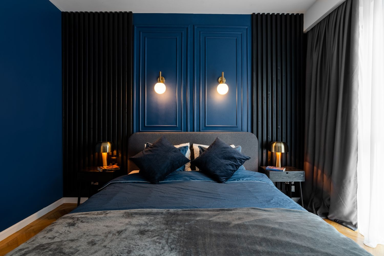 dormitor matrimonial albastru