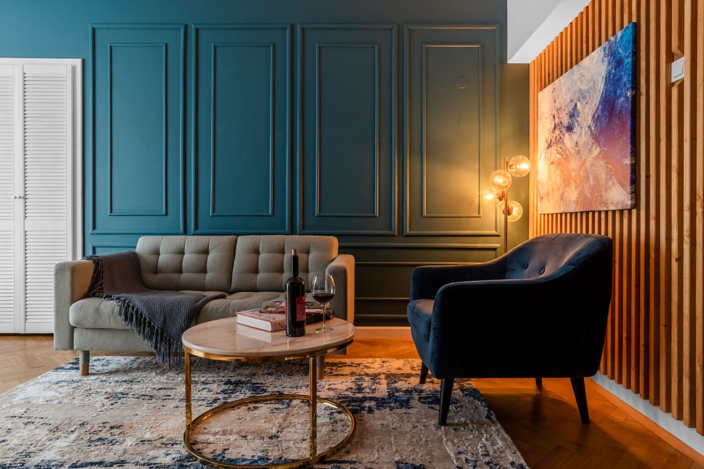 living albastru apartament piata romana
