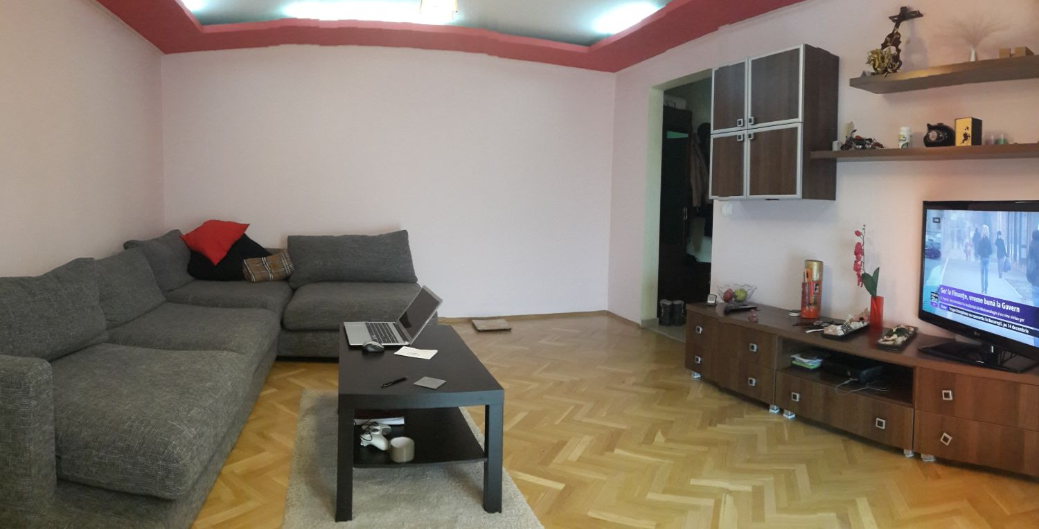 Before and after renovare Tineretului living