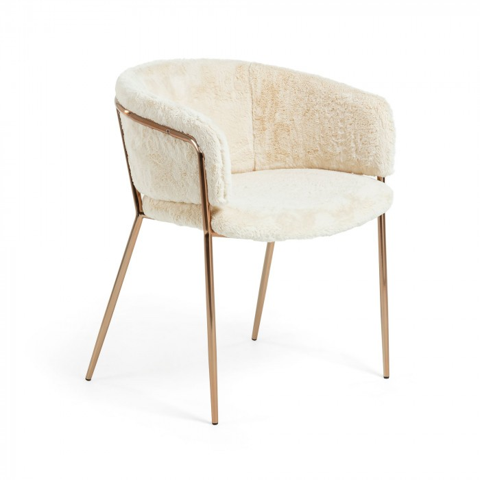 scaun tapitat cu blana artificiala