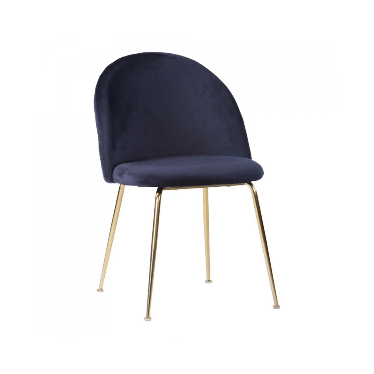 scaune dining catifea albastra