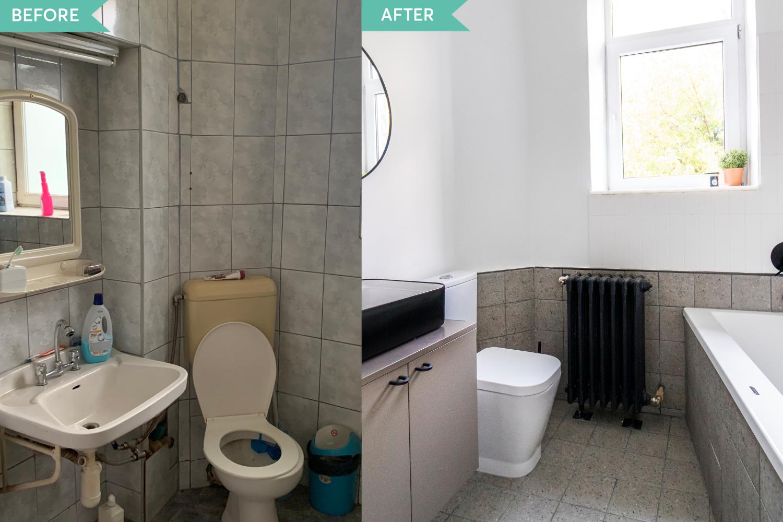 Renovare apartament vechi Amzei Bucuresti - Kanso Design arh. Andra Bica - baia inainte si dupa (1)