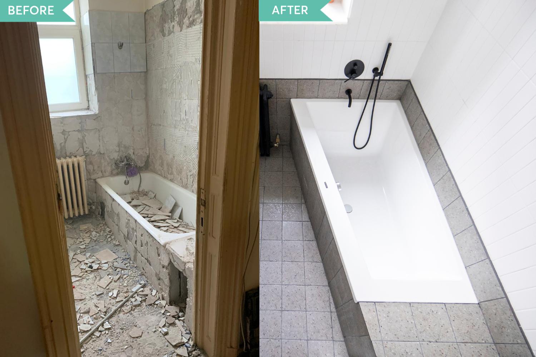 Renovare apartament vechi Amzei Bucuresti - Kanso Design arh. Andra Bica - baia inainte si dupa (2)