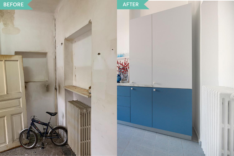Renovare apartament vechi Amzei Bucuresti - Kanso Design arh. Andra Bica - bucataria inainte si dupa (1)