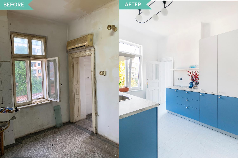 Renovare apartament vechi Amzei Bucuresti - Kanso Design arh. Andra Bica - bucataria inainte si dupa (2)