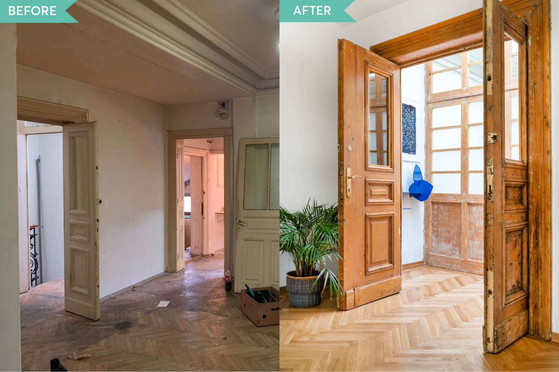 Renovare apartament vechi Amzei Bucuresti - Kanso Design arh. Andra Bica - holul inainte si dupa