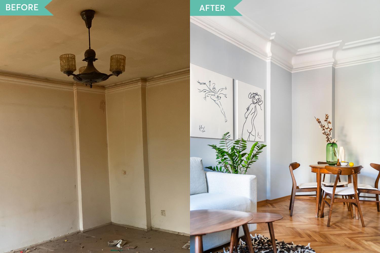 Renovare apartament vechi Amzei Bucuresti - Kanso Design arh. Andra Bica - livingul inainte si dupa (2)
