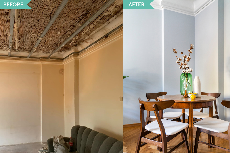 Renovare apartament vechi Amzei Bucuresti - Kanso Design arh. Andra Bica - livingul inainte si dupa (1)