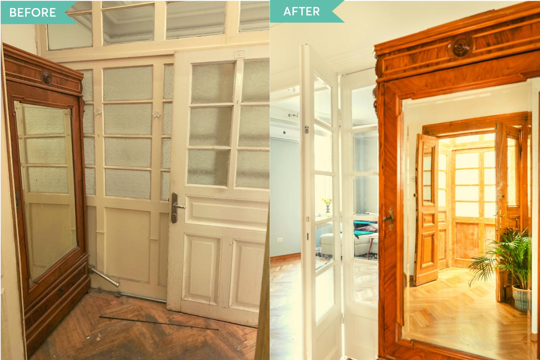 Renovare apartament vechi Amzei Bucuresti - Kanso Design arh. Andra Bica - sifonier vechi inainte si dupa
