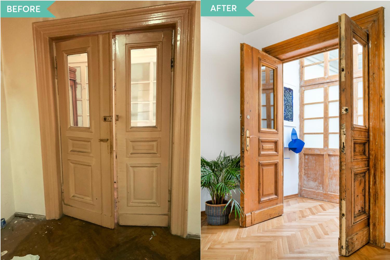 Renovare apartament vechi Amzei Bucuresti - Kanso Design arh. Andra Bica - usi hol inainte si dupa