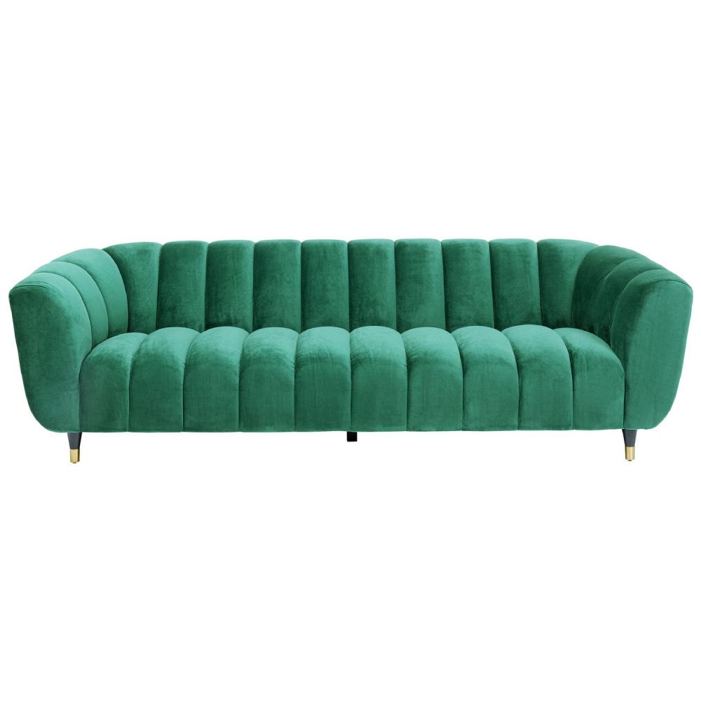 canapea catifea verde canelata