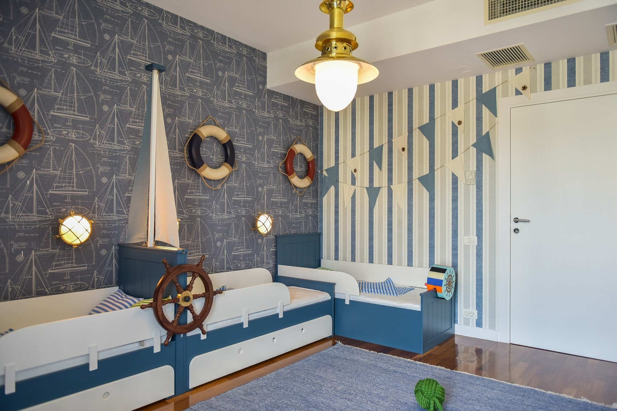 Camera baieti tema marina albastru alb KiwiStudio
