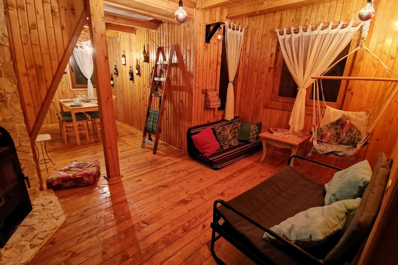 interior tiny wooden cottage