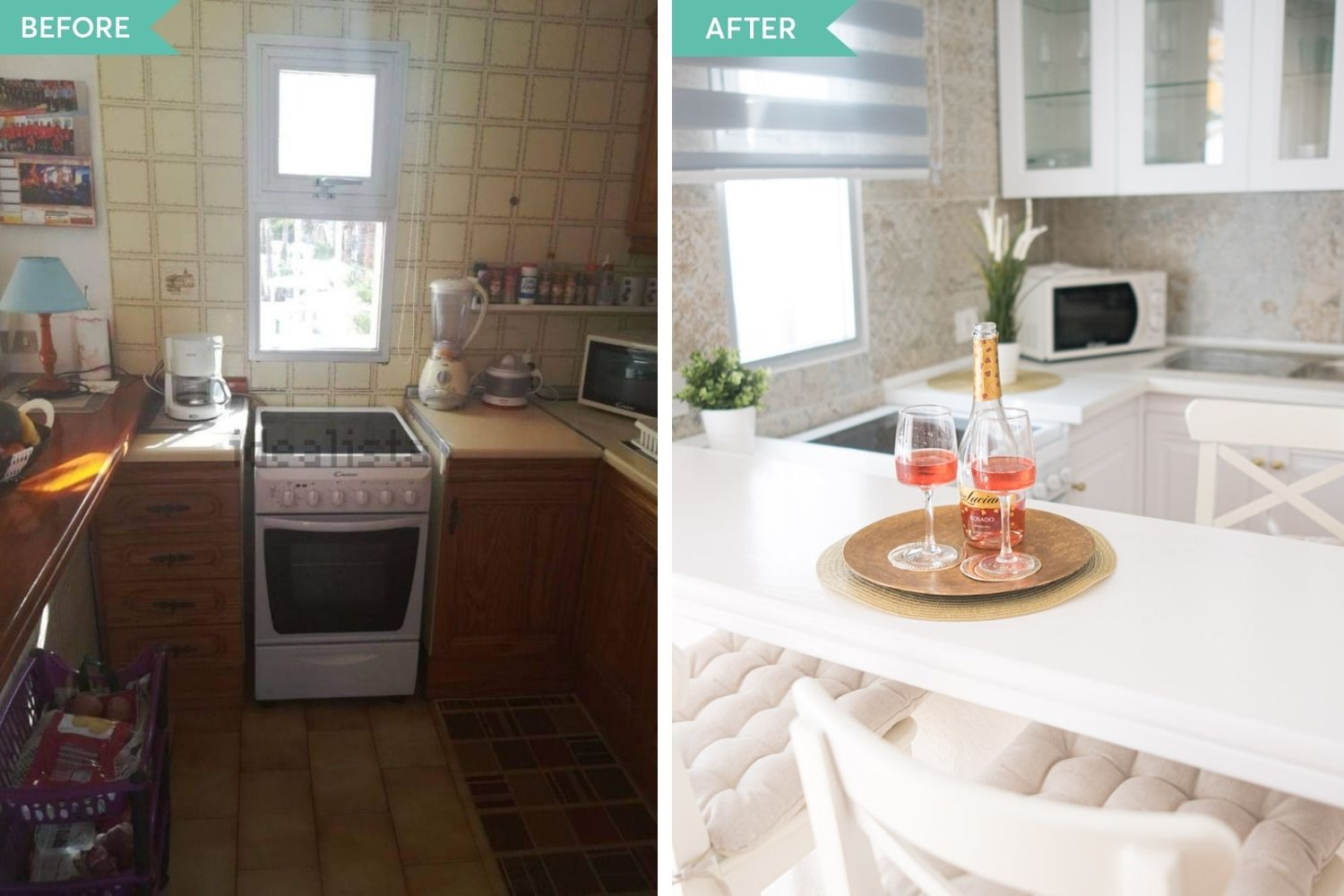 before and after bucatarie 2 shabby chic
