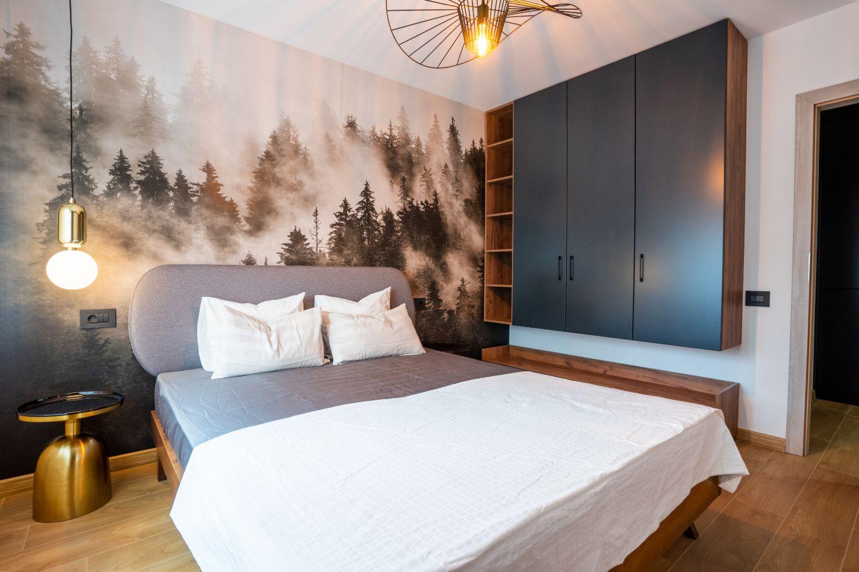 dormitor fototapet copaci amenajare pitesti
