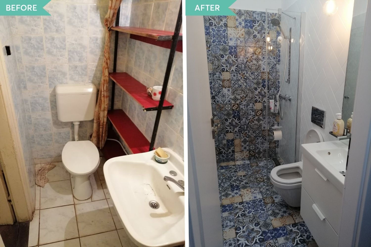 before and after baie garsoniera timisoara